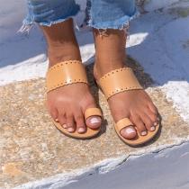 Sandalias Simples de Puntera Abierta de Tacón Plano