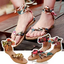 Sandalias de Correas con Estampado Bohemio