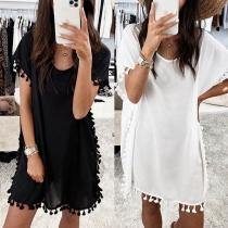 Fashion Solid Color Short Sleeve Round Neck Tassel Spliced Dress