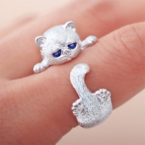 Cute Style Rhinestone Inlaid Cat Shaped Ring