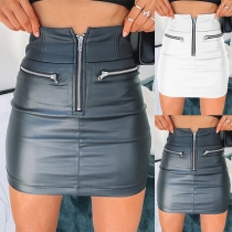 Mini Falda de Piel Sintética de Talle Alto con Cremallera