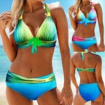Sexy Bikini Estampado Llamativo Halter