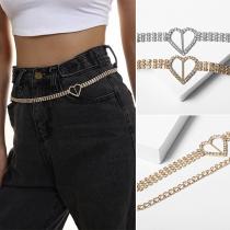 Fashion Rhinestone Inlaid Heart Waist Chain