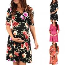 Fashion Short Sleeve V-neck Printed Maternity Dress