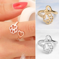 Creative Style Dog's Paw & Heart Shaped Open Ring