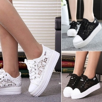 Fashion Flat Heel Round Toe Hollow Out Lace-up Canvas Shoes