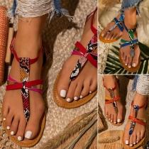 Bohemian Style Flat Heel Serpentine Printed Sandals