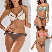 Sexy Bikini Halter de Bicolor + Braga de Talle Bajo