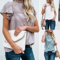 Sexy Lace Spliced Short Sleeve Mock Neck Solid Color Top