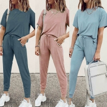 Fashion Solid Color Short Sleeve T-shirt + Pants Two-piece Set