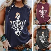 Chic Style Skull Printed Sleeveless Round Neck Tank Top