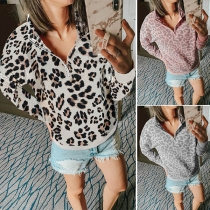 Fashion Long Sleeve Stand Collar Leopard Printed Sweatshirt