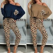 Chándal de Estampado de Leopardo: Blusa de Manga Larga + Pants Largos