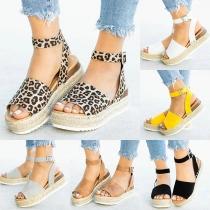 Sandalias Peep Toe de Tacón Grueso de Moda