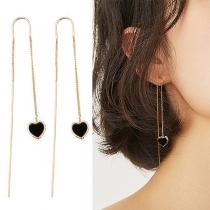 Pendientes Largos(Ear-line) con Colgantes de Corazón