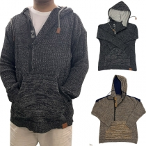 Fashion Mixed Color Long Sleeve Hooded Man's Thin Knit Top