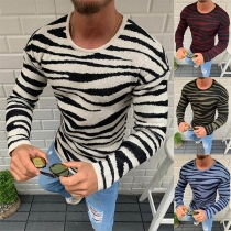 Fashion Long Sleeve Round Neck Man's Striped Knit Top
