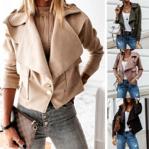 Fashion Solid Color Long Sleeve Lapel Jacket