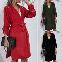 Fashion Solid Color Notched Lapel Windbreaker Coat