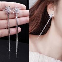 Fashion Long Sleeve Pendant Snowflake Shaped Earrings