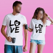 Fashion Letters Printed Short Sleeve Round Neck Couple T-shirt