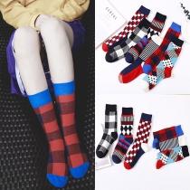 Calcetines Estampados en Color de Contraste de Moda, 2 pares / juego