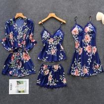 Sexy Conjunto de Cuatro Piezas para Dormir: Top + Shorts + Vestido de Tirantes + Vestido