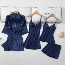 Sexy Conjunto de Cuatro Piezas: Top de Tirantes + Shorts + Vestido de Tirantes + Vestido de Dormir