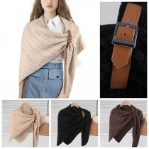 Fashion Solid Color Knit Shawl Cloak
