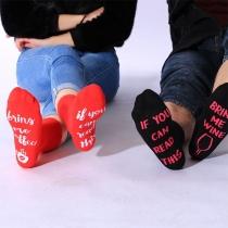 Calcetines Estampados con Letras de Copa de Vino Estilo Chic