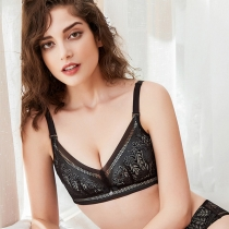 Sexy Lace Spliced Solid Color Push-up Wireless Bra Bralette