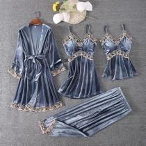Conjunto de Cuatro Piezas para Dormir en Encaje: Top de Tirantes + Vestido de Tirantes+ Pantalones + Bata