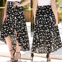 Fashion High Waist Slit Hem Printed Skirt