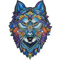 Wooden Puzzle Jigsaw in shape of Majestic Wolf