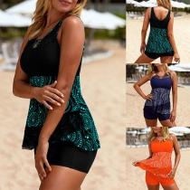 Fashion Gauze Spliced Printed Top + Shorts Swimsuit Set