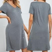 Fashion Solid Color Short Sleeve V-neck Maternity Dress