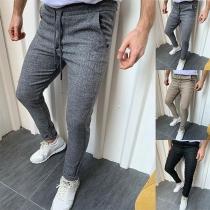 Pantalones de Hombre de Cintura Media de Color Sólido de Estilo Simple