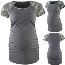 Fashion Camouflage Spliced Short Sleeve Round Neck Maternity T-shirt
