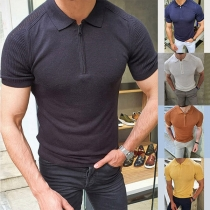 Camiseta de Tejido de Punto para Hombre de Polo Escote Manga Corta