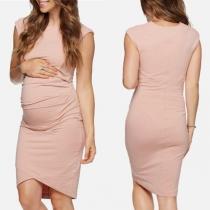 Elegant Solid Color Sleeveless Round Neck Maternity Dress