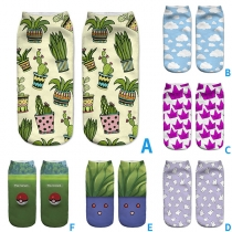 Cute 3D Cartoon Printed Pattern Socklet Shorts Socks 2 Pair/Set