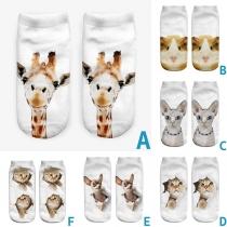 Cute Animal Printed Invisible Shorts Socks