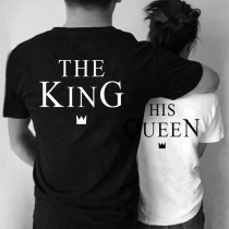 Blusa para Parejas con Estampado de Queen and King de Escote Redondo Manga Corta