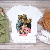Camisa Casual con Estampado de Super Mom de Escote Redondo Manga Corta