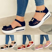 Fashion Thick Heel Hollow Out Round Toe Sandals