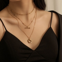 Chic Style Hollow Out Heart Arrow Pendant Three-layer Necklace