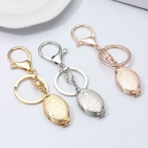 Simple Style Peony Engraved Oval Pendant Key Chain