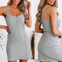 Simple Style Sleeveless U-neck Solid Color Slim Fit Tank Dress