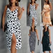 Sexy Backless V-neck Slit Hem Sling Printed Dress with Waist Strap