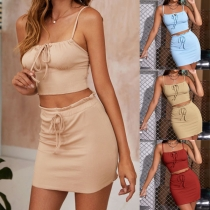 Sexy Backless Solid Color Sling Crop Top + High Waist Skirt Two-piece Set